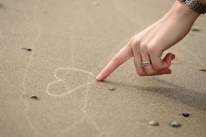 Hand Finger Woman Heart Sand
